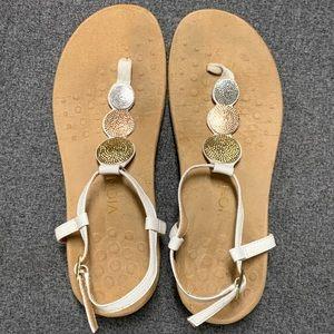 Vionic Lizbeth White Leather Metal Sandal 9